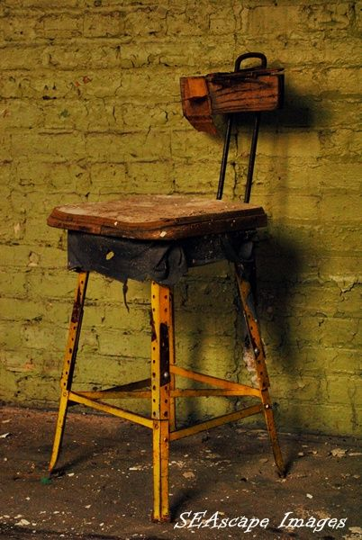 Stool in abandoned factory