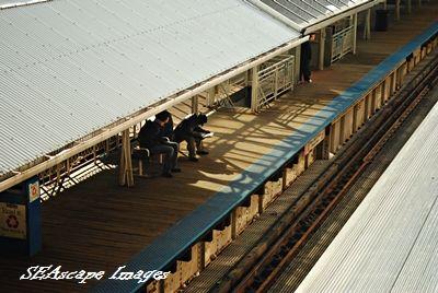 "passengers waiting on ""L"" platform"