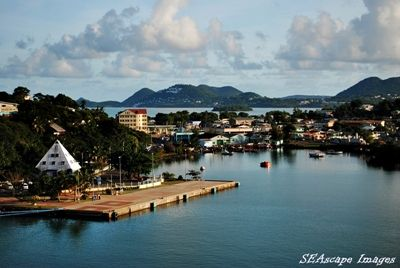 ship docking in St. Lucia