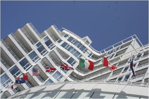 flags line a hotel entrance
