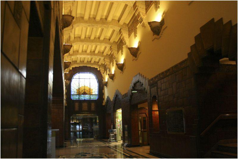an ornate art deco lobby