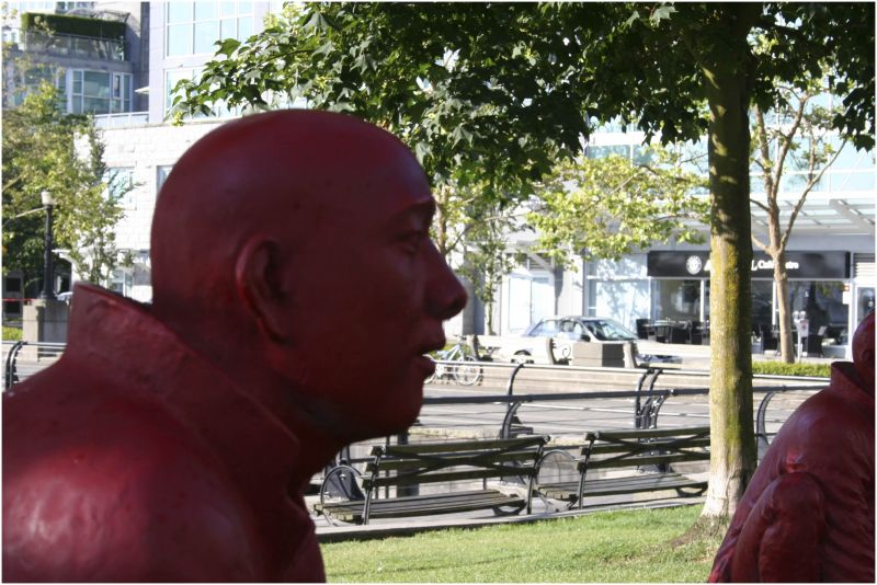red man watching