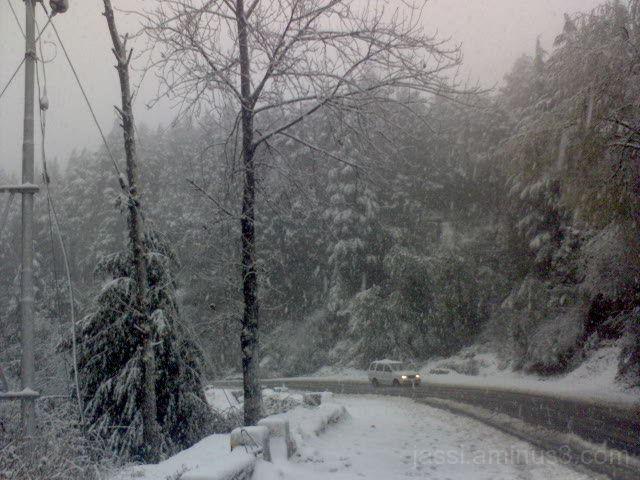 Shimla-Kalka Highway during snowfall