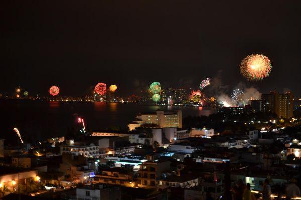 City, night, Fireworks