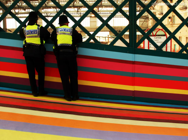 Carlisle train station in rainbow colours