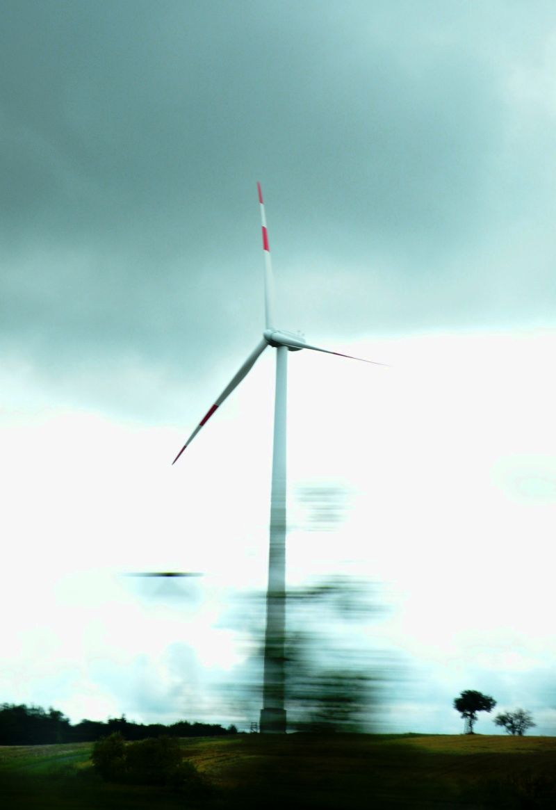 Windmill With Landscape in Motion