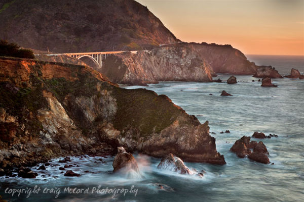 Late afternoon sun on Bixby Bridge