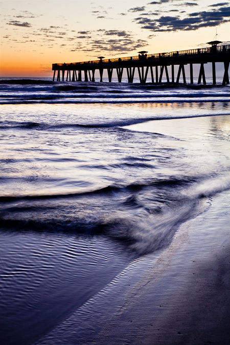 Dawn approaches at Jacksonville Fl Beach Pier,
