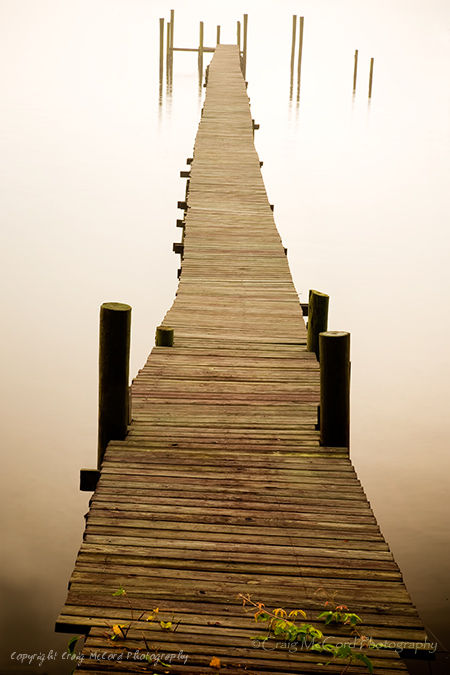 Dock and foggy morning along the St. Johns River