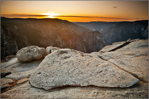 Day ends at Taft Point, Yosemite National Park, CA