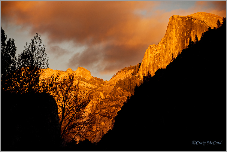 Late light on half dome, View from Leidig Meadow