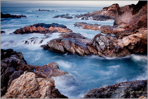 Surf pounds rocky shores of Big Sur