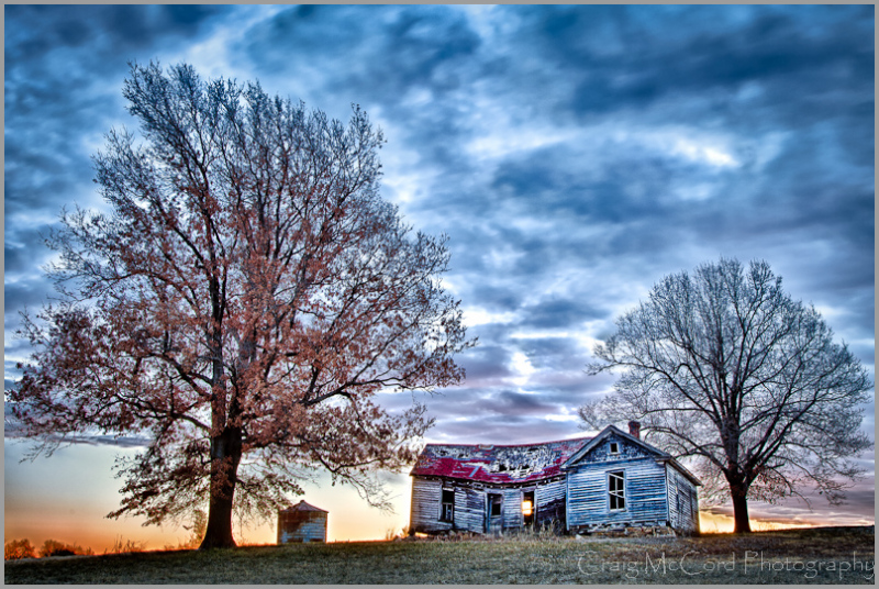 HDR of old house ruins in Jackson Co, Missouri