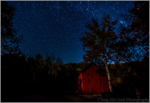 Alley Mill under stars and setting moon light