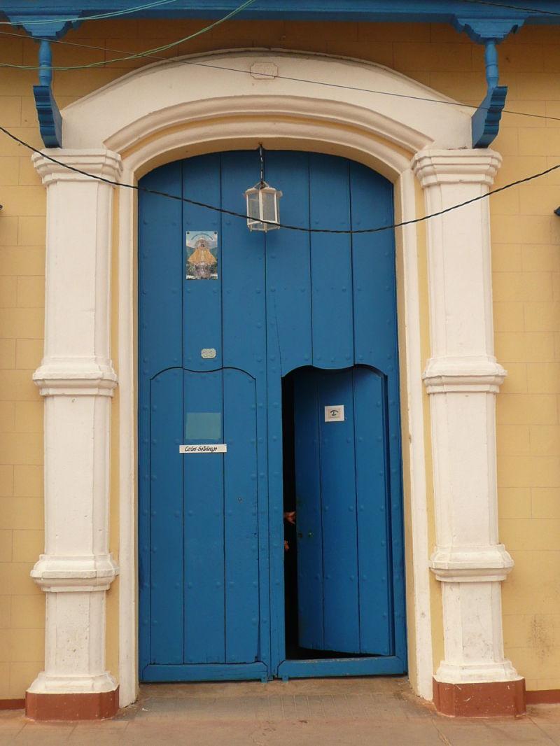 Blue door in Trinidad