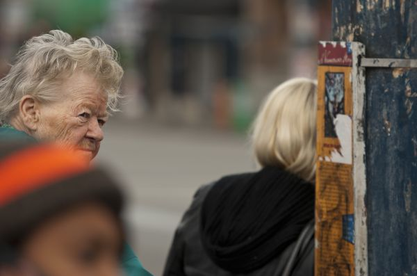 Old Lady at Bus Stop