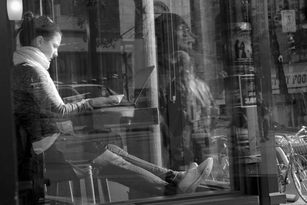 Cafe Woman b&w