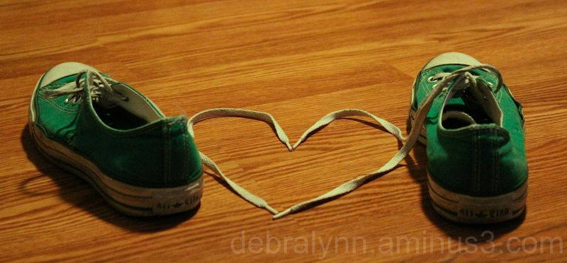 Green Converse Shoes with Heart