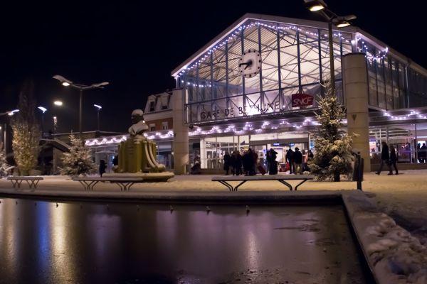 Gare Bethune neige nuit