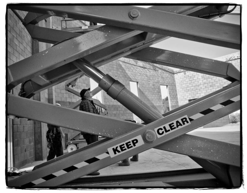 scissor lift at construction site