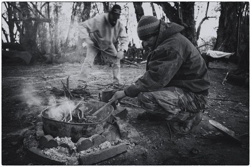 homeless make fire