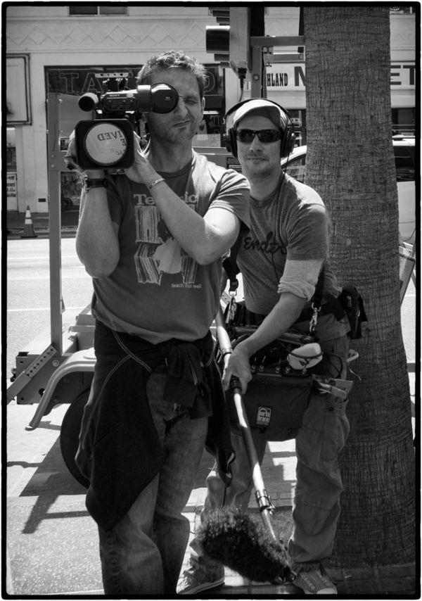 film crew on hollywood blvd.