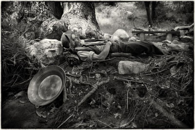 man asleep in forest