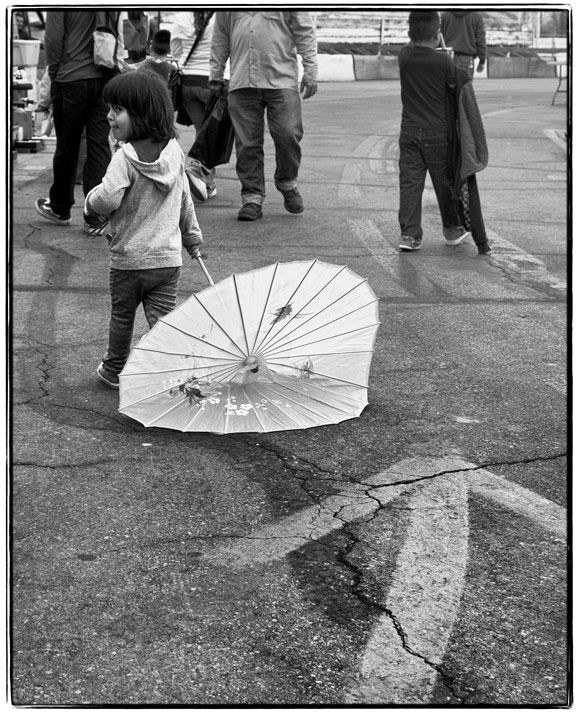 swap meet girl umbrella
