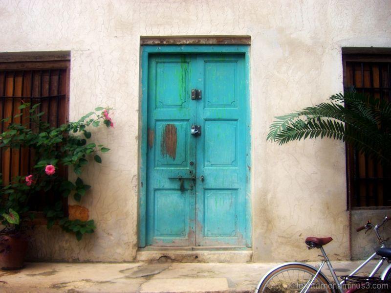 the blue door.