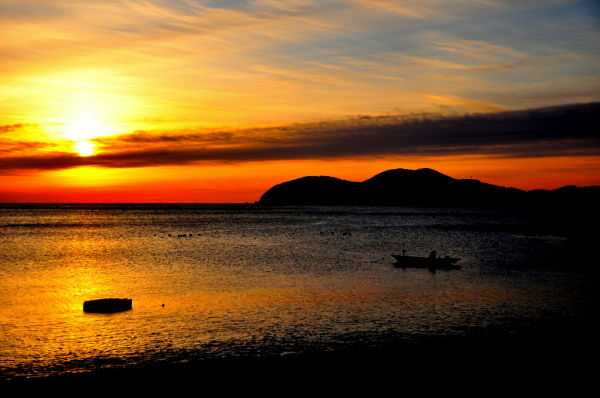 Sunrise over a calm bay on Geoje Island