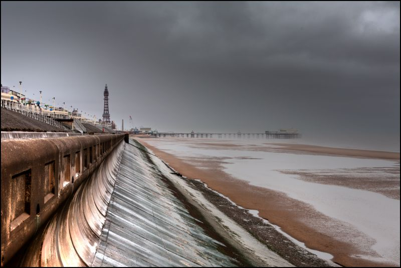 A wild wet windy day in Blackpool