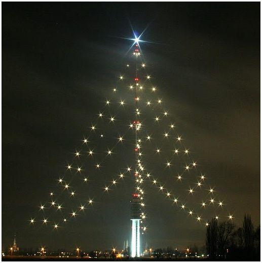 """TV tower """"Lopik"""" as Chrismas-tree"""