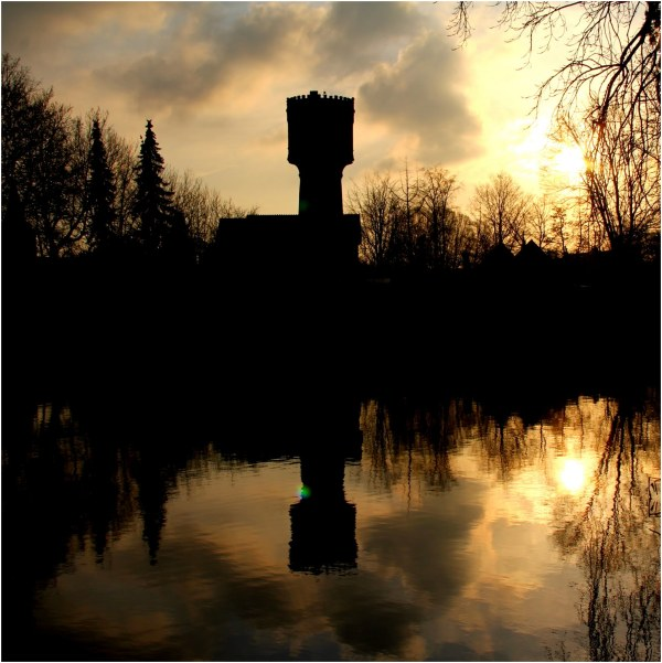 Water tower of Woerden at sunset