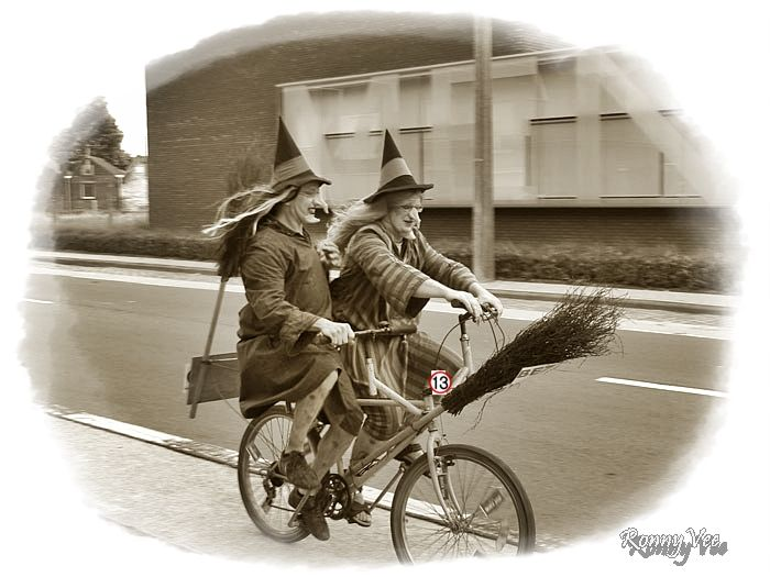 Two Witches on a Bike.