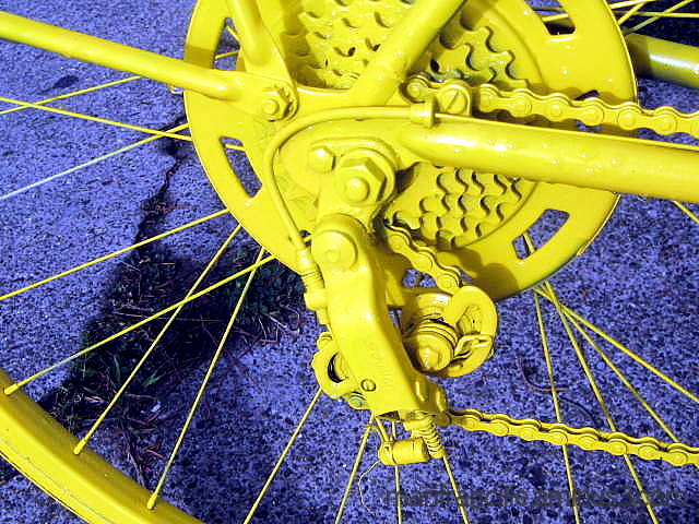 bike, gears, yellow