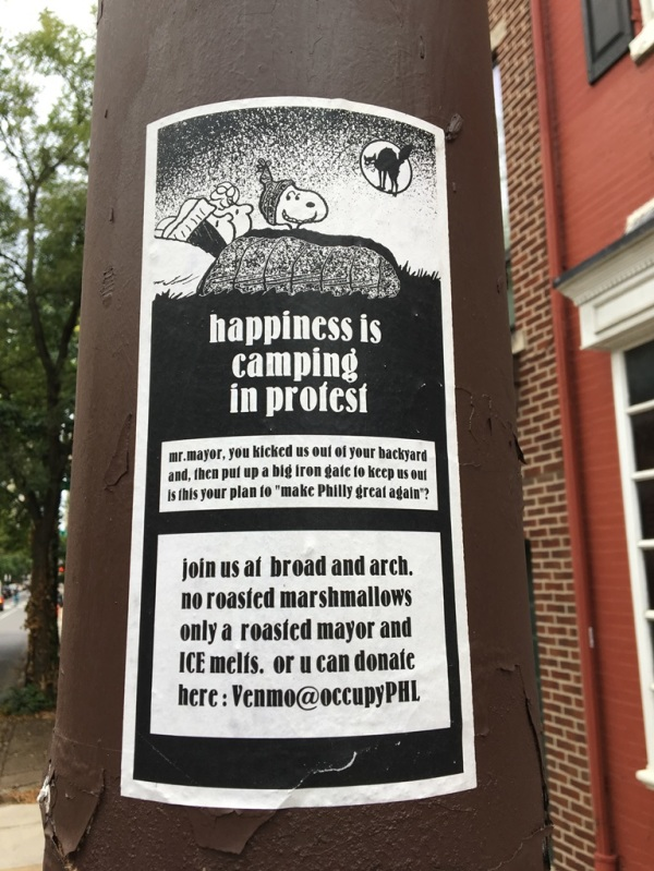 happiness is camping in protest