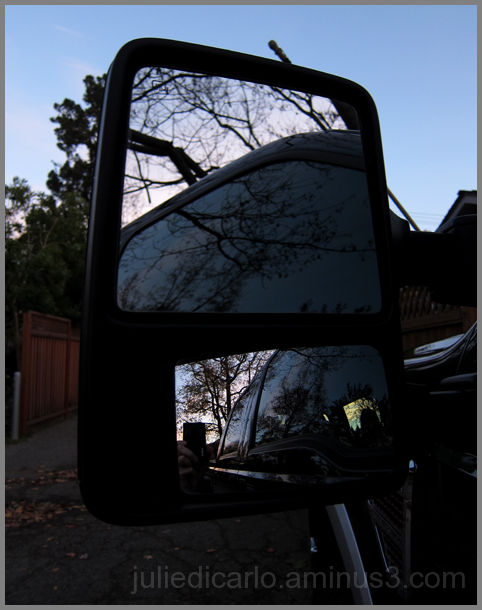 Rearview mirror at dusk