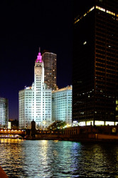 Chicago River & Wrigley Building at night