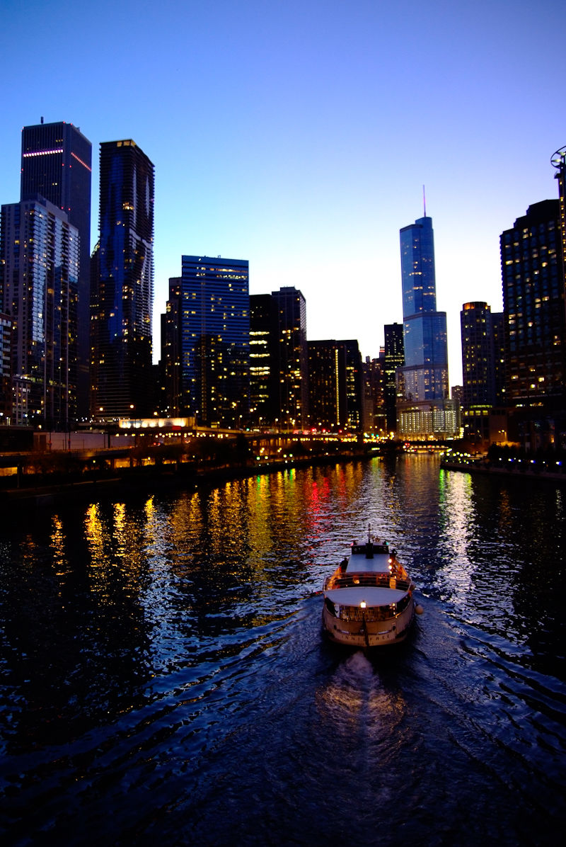 The Chicago River seen at night with Trump