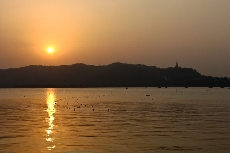 Sunset as seen over the West Lake Hangzhou China