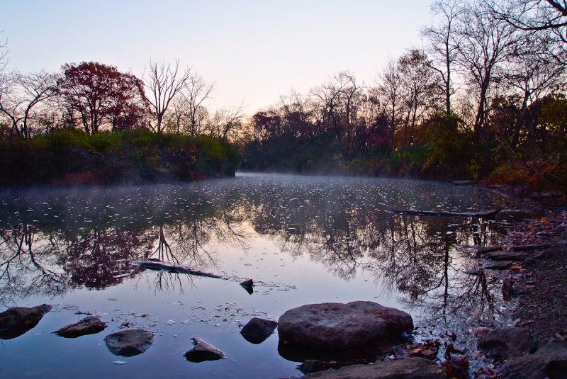 Sunrise lake water reflection