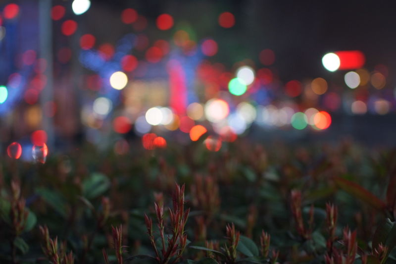 colorful bokeh made on Shanghai Street