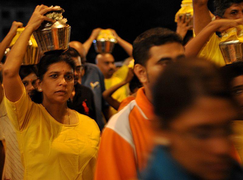 Devotees on Thaipusam festival at Batu Caves.