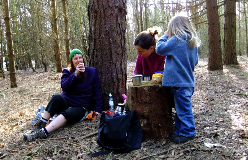 drinking tea in the woods