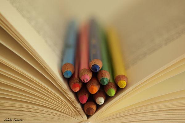 Livre, book - Crayons de couleur, Pencils