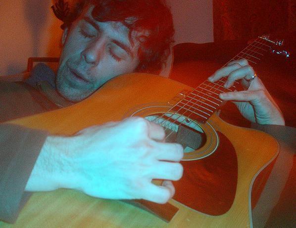 music artsy portrait guitar warm light