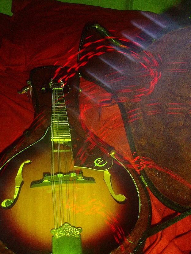 music art abstract mandolin green-light LED photo