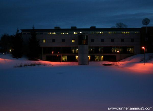 winter night lyndon state college light pond ice