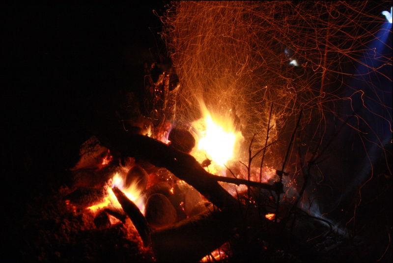 fire, night view