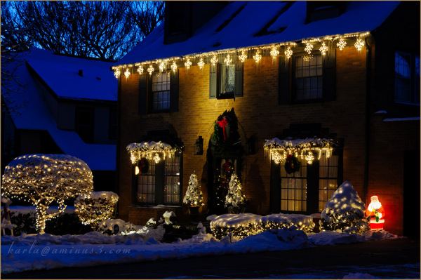 Christmas lighting on a house in Omaha